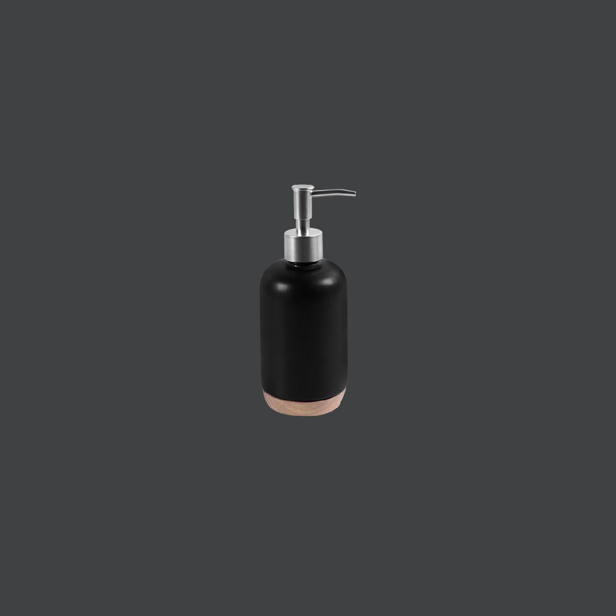 Porta Sabonete Líquido de Cerâmica e Madeira - KBCM/SL
