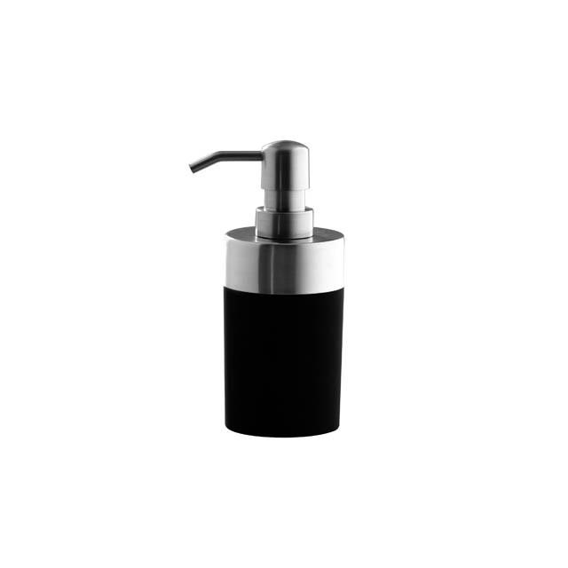 Porta Sabonete Liquido Preto Aço Escovado