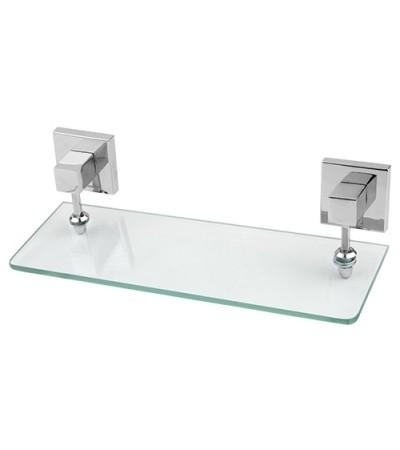 Porta Shampoo Quadra em Latão Cromado com Vidro