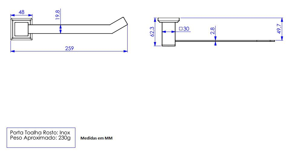 Porta Toalha de Rosto Quadratta em Aço Inox