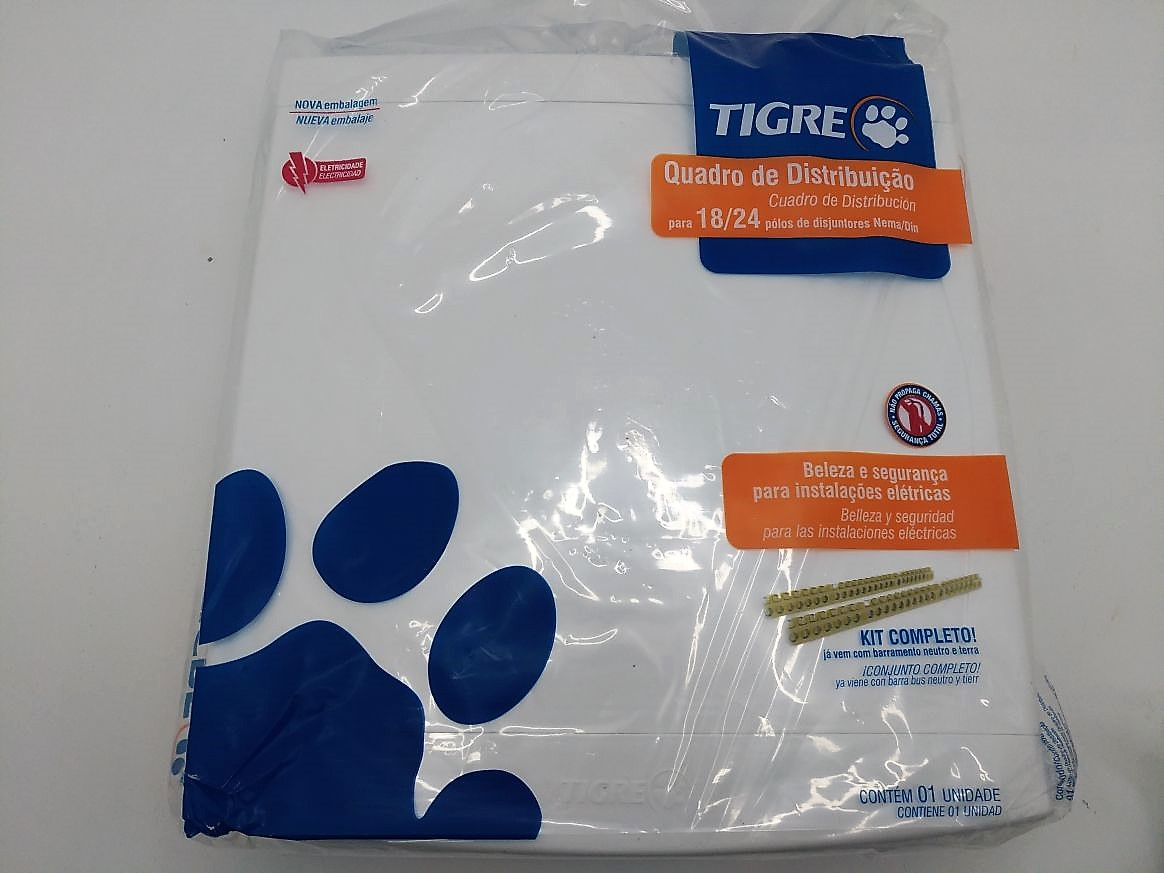 Quadro Distribuição Embutir 18/24 Disjuntores C Barramento Branco Tigre