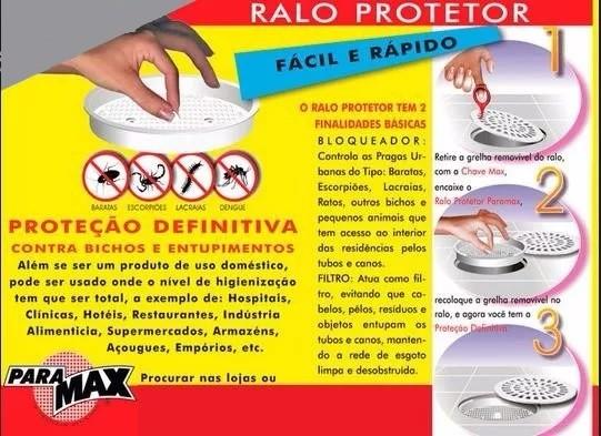 Ralo c/ Tela protetor contra Insetos Dengue Baratas 100mm
