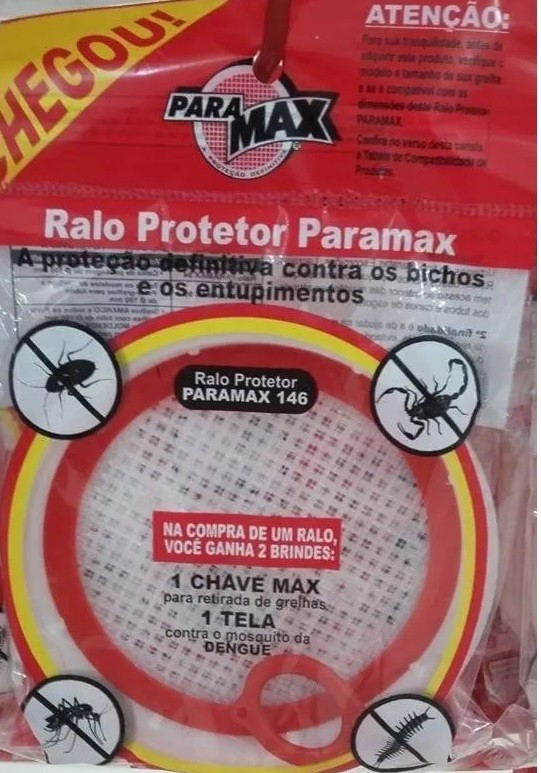 Ralo c/ Tela protetor contra Insetos Dengue Baratas 150mm