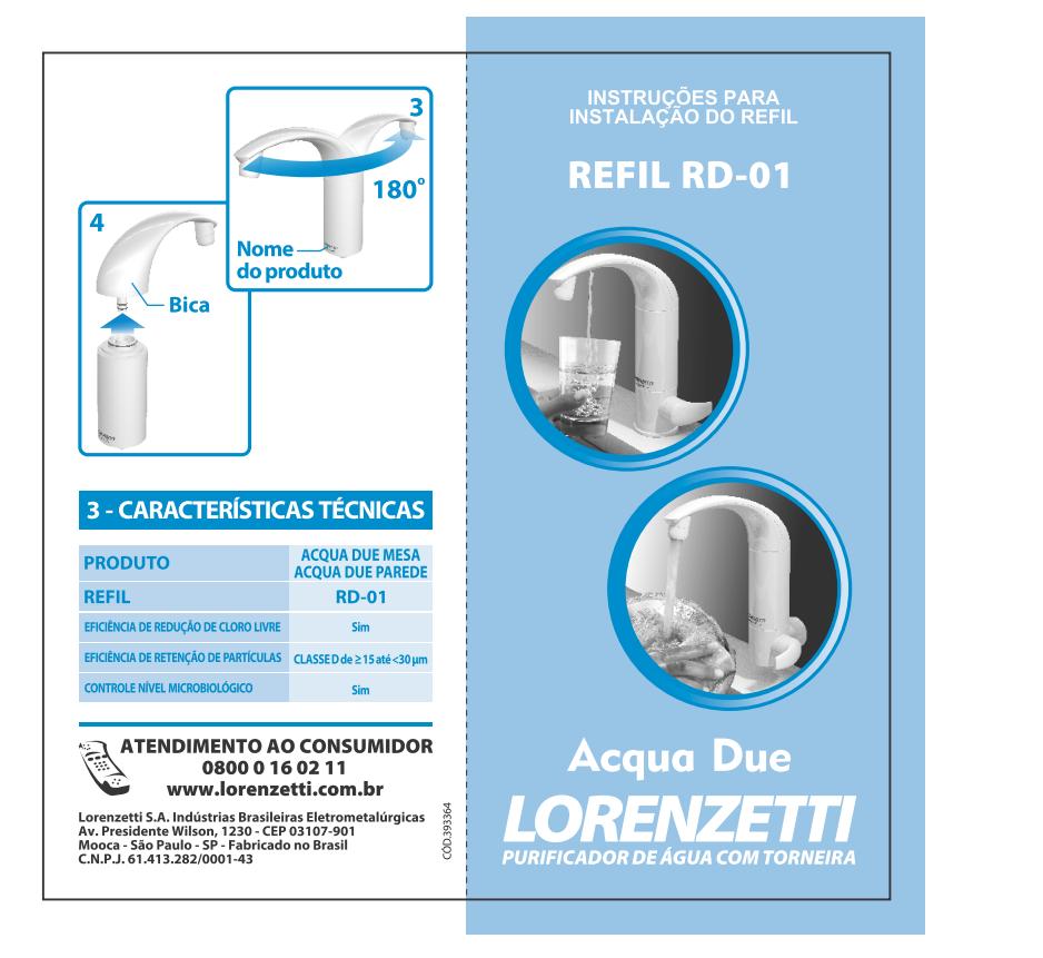 Refil Filtro Purificador Água Acqua Due Lorenzetti