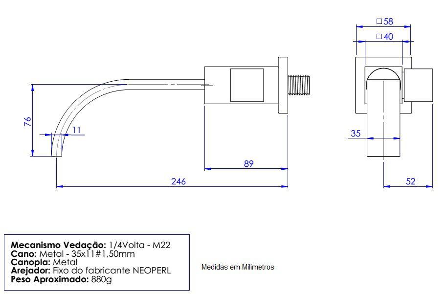Torneira Cozinha Quadratta Bica Móvel Retangular 35mm Cromada