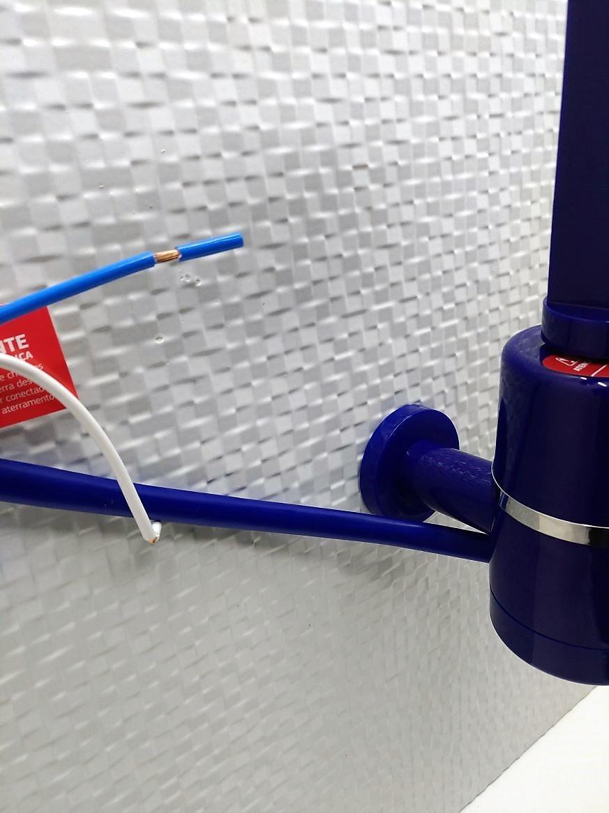 Torneira Elétrica P/ Pia De Parede Hydra Slim 4t - 220v - 5500W Azul