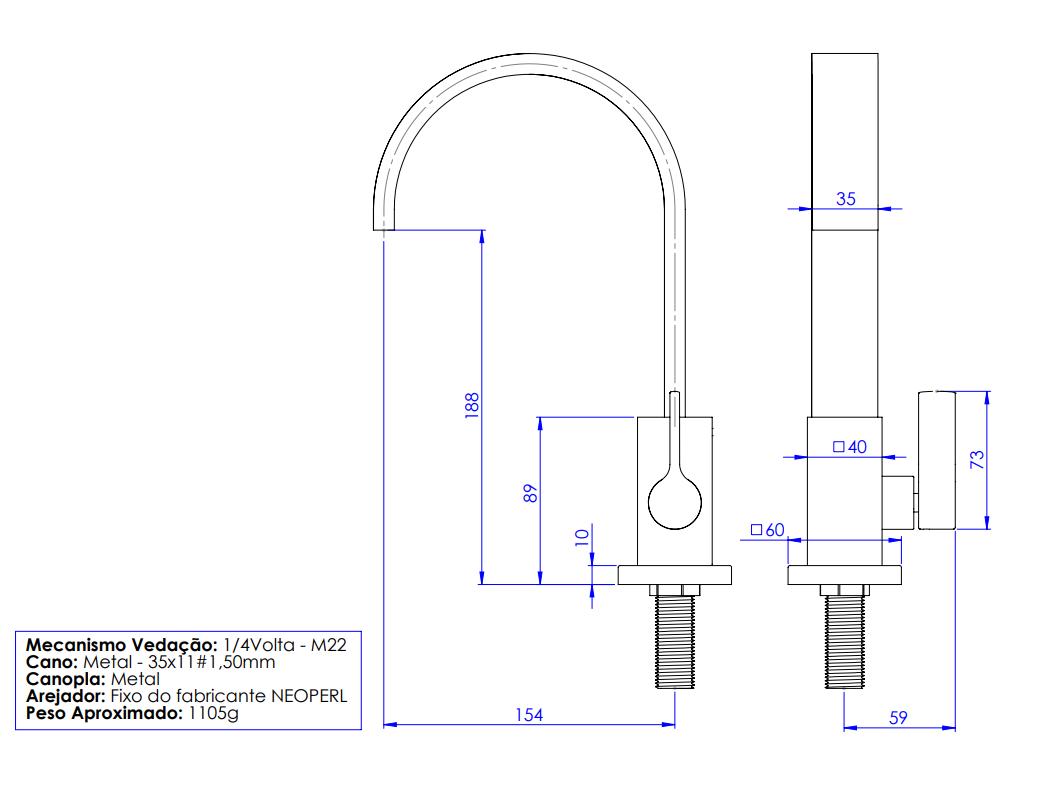 Torneira Para Cozinha/Lavatório Quadratta Bica Móvel Retangular 35mm Bancada Cromada