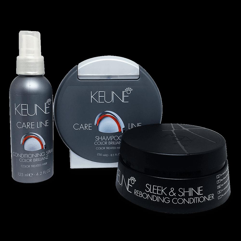 Kit Keune Color Brillianz e Sleek & Shine - Shampoo, Condicionador e Máscara Sleek & Shine