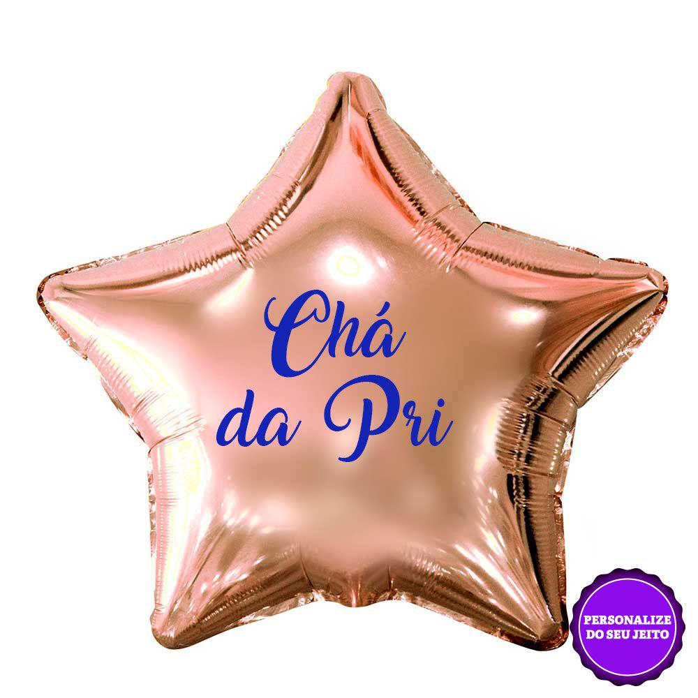 Balão Estrela Metalizado Rose Gold Personalizado Unidade para Despedida de Solteira
