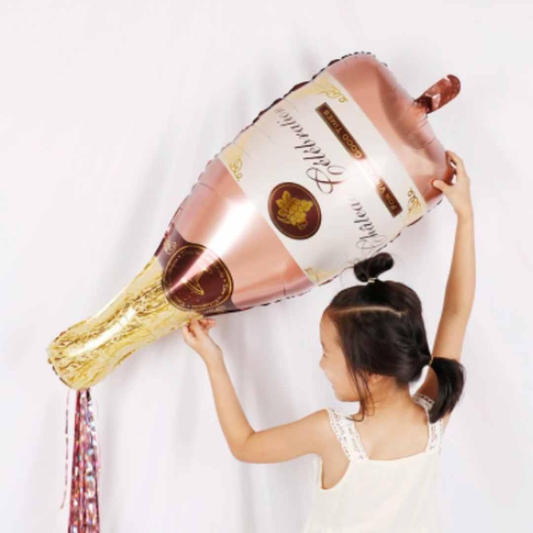 Balão rosê gold metalizado garrafa de champagne