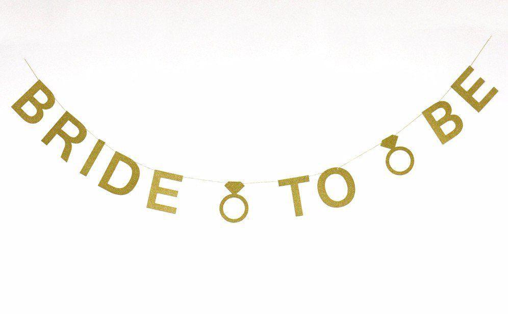 Banner Bride to Be em glitter dourado para decoração de despedida de solteira ou chá de lingerie.