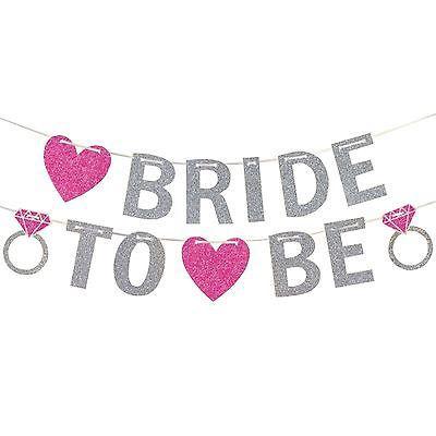Banner Bride to Be em glitter prata com Pink para decoração de Despedida de Solteira e Chá de Lingerie.