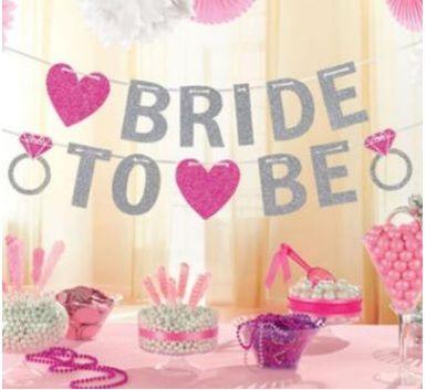 Banner Bride to Be em glitter prata com Pink para Despedida de Solteira