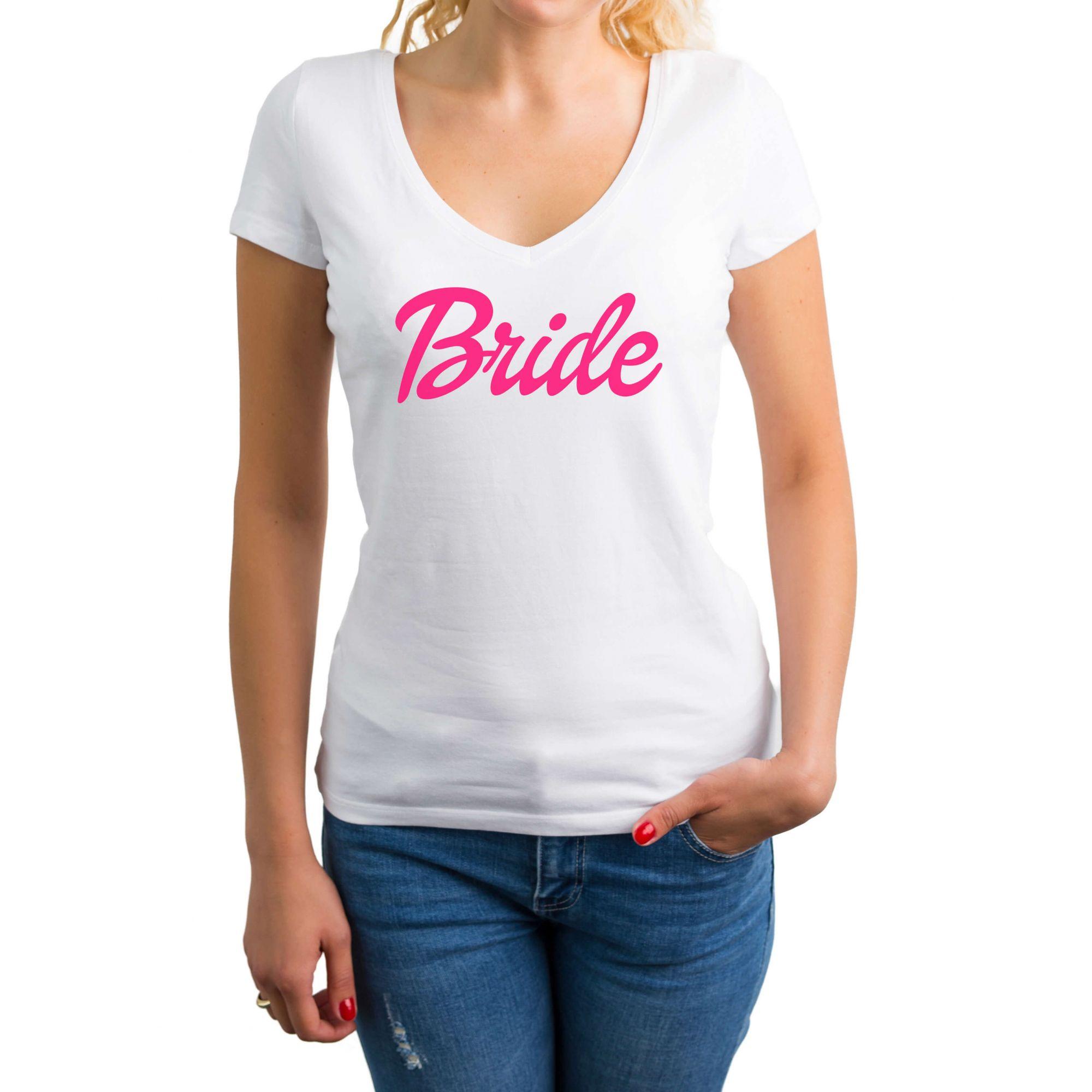 Camiseta Baby Look Gola V Bride Pronta Entrega para Despedida de Solteira