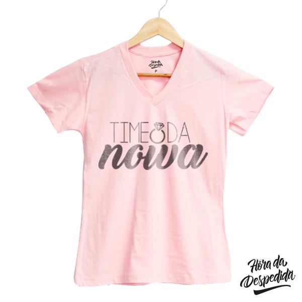 Camiseta Baby Look Gola V Personalizada Team Bride para Despedida de Solteira
