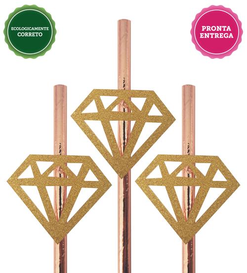 Canudo Diamante Dourado 10 unidades para Despedida de Solteira
