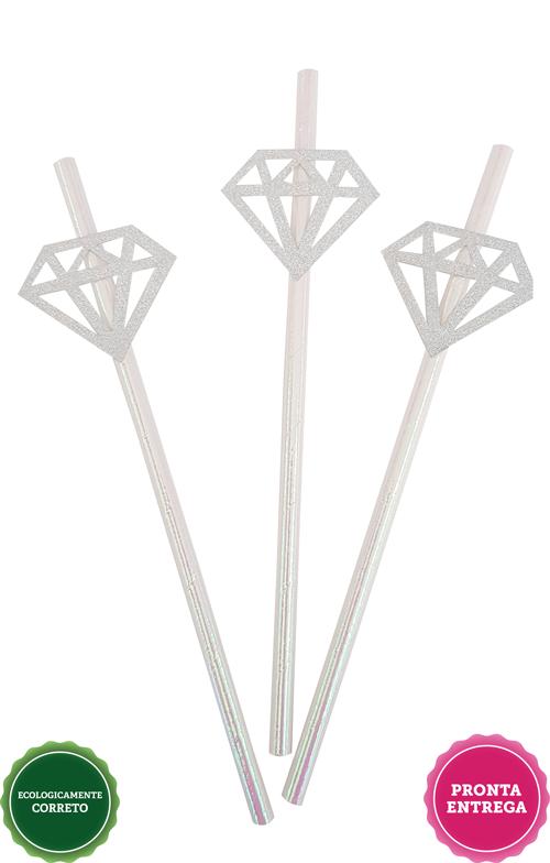Canudo Diamante Prateado 10 unidades, Canudo Metalizado Diamante, Canudo Diamante, Canudos Diamante para Despedida de Solteira, Canudos Diamante Chá de Lingerie, Canudinhos Diamante