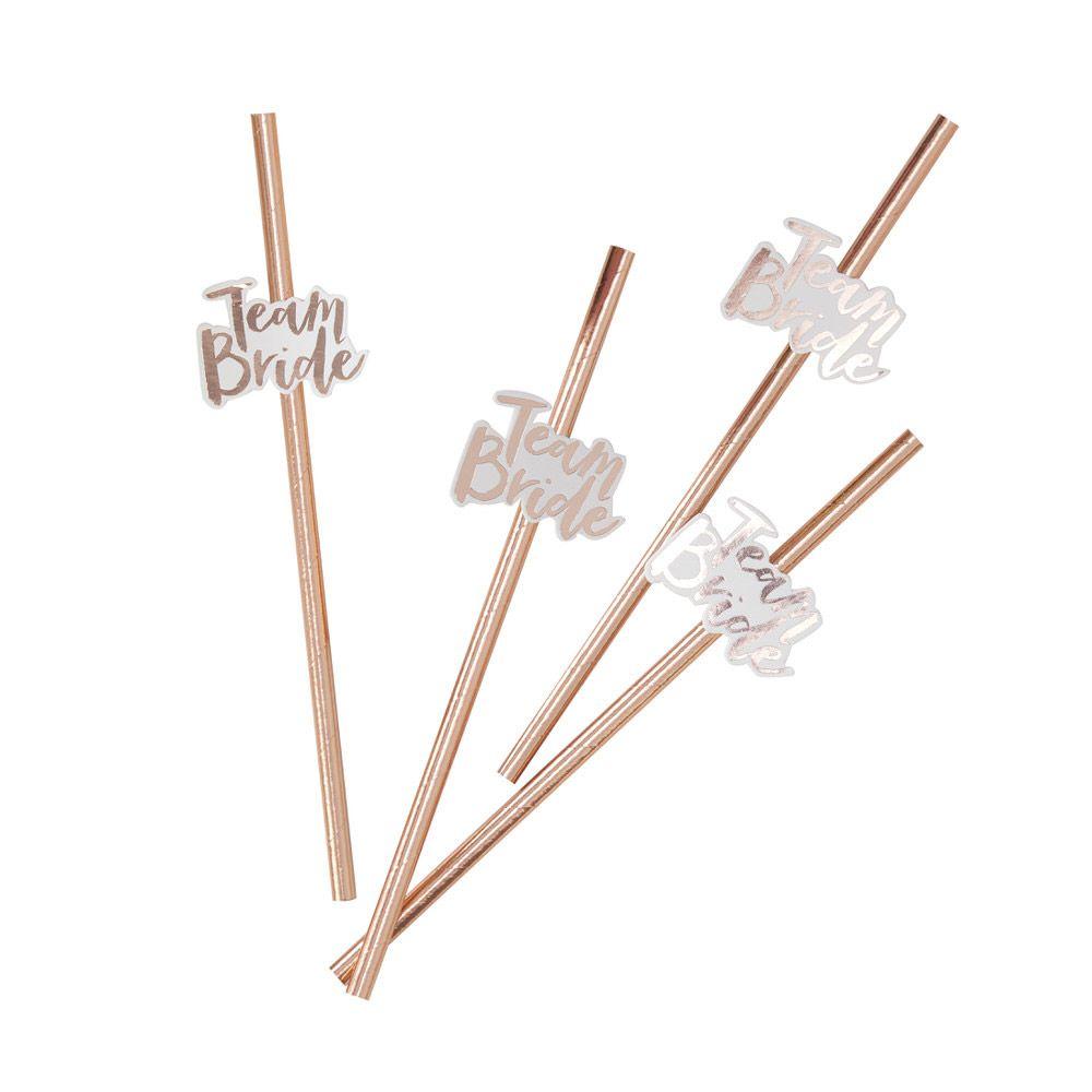Canudo Team Bride Rose Gold 10 unidades, Canudo Metalizado, Canudo Team Bride, Canudos Despedida de Solteira