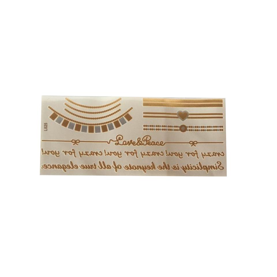 Cartela Tatuagem Temporária Metalizada Grande Pronta Entrega para Despedida de Solteira