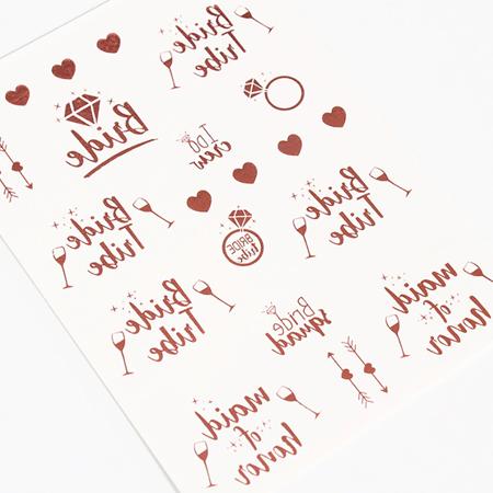 Cartela Tatuagem Temporária Rose Gold Pronta Entrega para Despedida de Solteira