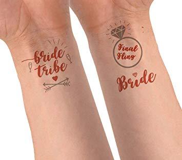 Cartela Bachelorette Tatuagem Temporária Rose Gold Pronta Entrega para Despedida de Solteira