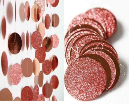 Cortina para decoração círculos glitter e metalizada rose gold