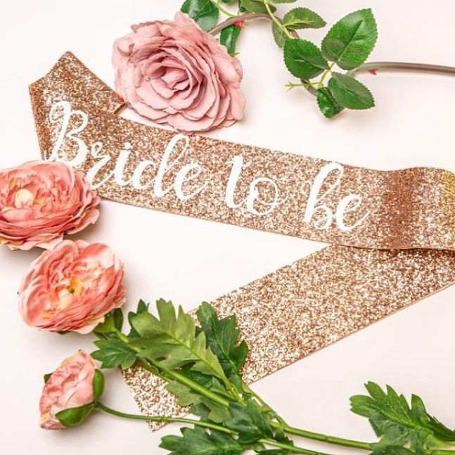 Faixa Bride to Be Glitter Rose Gold Pronta Entrega para Despedida de Solteira