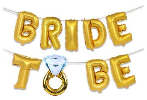 FAIXA DE BALÕES BRIDE TO BE DOURADA PRONTA ENTREGA, BALÕES EM FORMA DE LETRAS BRIDE TO BE, DECORAÇÃO DESPEDIDA DE SOLTEIRA, DECORAÇÃO BALÕES CHÁ BAR