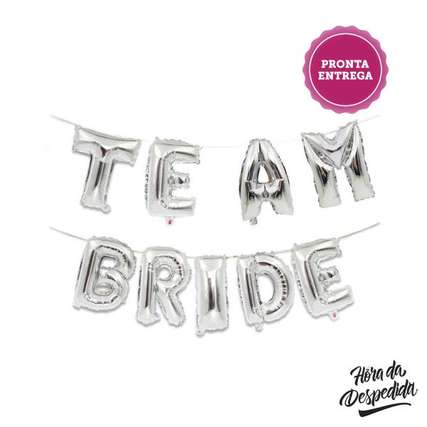 Faixa de Balões Team Bride Prateada Pronta Entrega para Despedida de Solteira