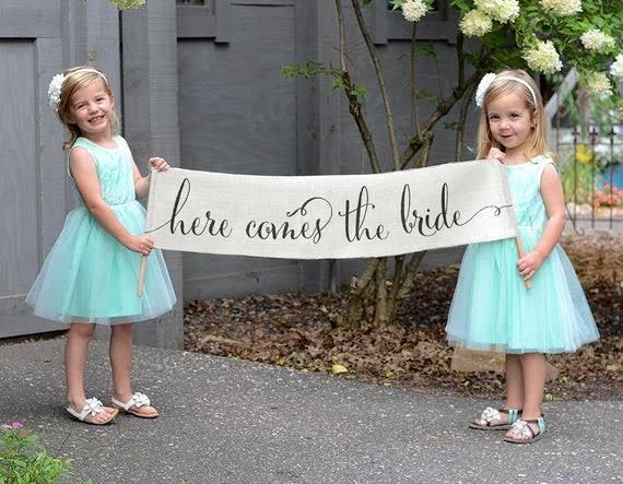 Faixa Lá vem a noiva/Here comes the bride Personalizada para Despedida de Solteira