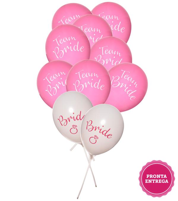 Kit Balões Bride e Team Bride, Balões Decoração Despedida de Solteira, Balão Decoração Chá de Lingerie, Bexiga Decoração Despedida de Solteira, Bexiga decoração Chá de Lingerie