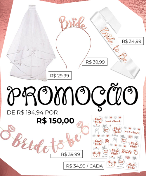 Kit Bride to Be Rose Gold para Despedida de Solteira