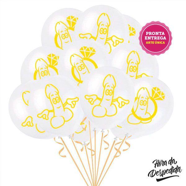 Kit de 8 Balões Pênis Sapequinha Pronta Entrega para Despedida de Solteira