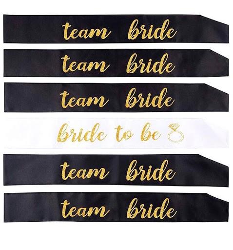 Kit 6 Faixas Team Bride + Bride Pronta Entrega para Despedida de Solteira