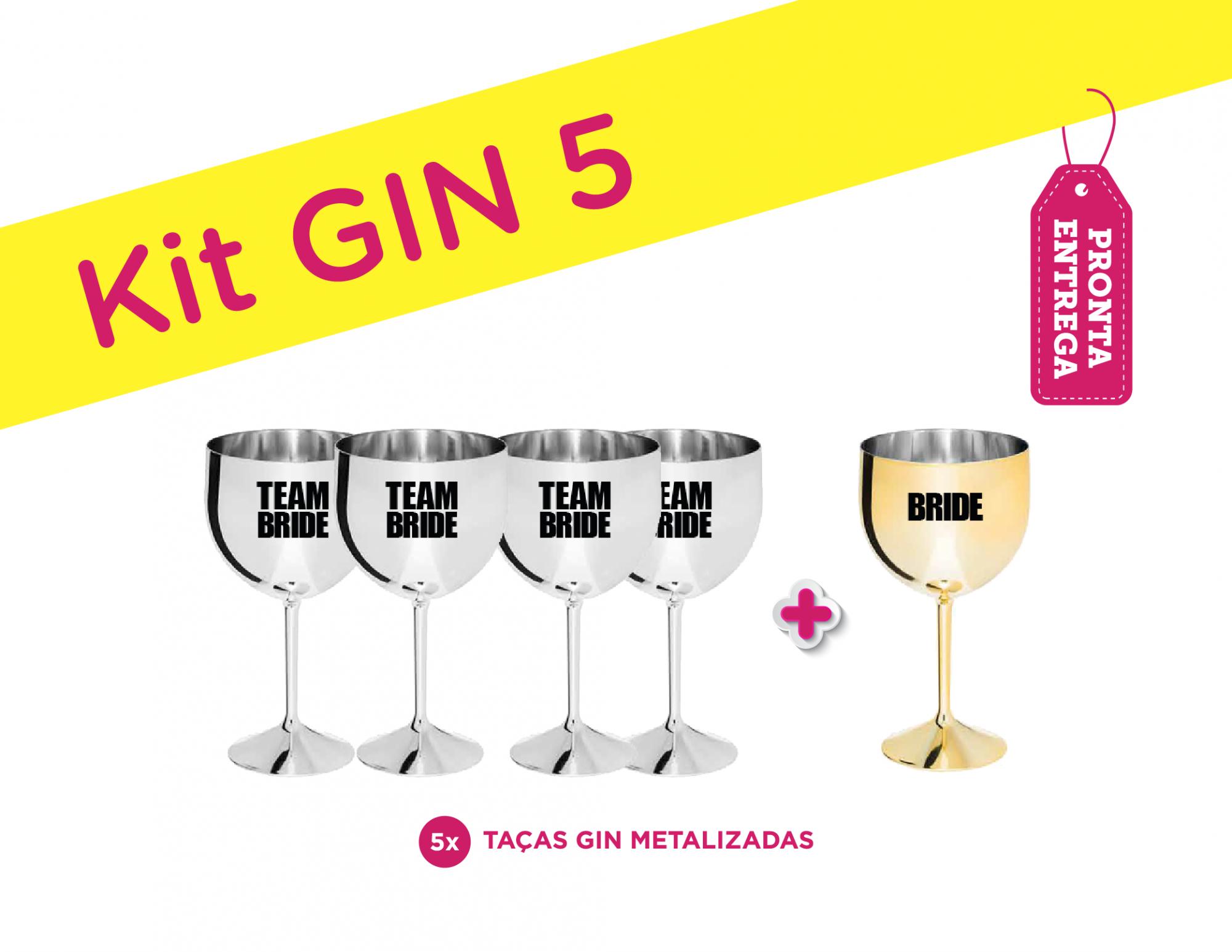 Kit Gin 5 Metalizado Bride/Team Bride Pronta Entrega para Despedida de Solteira