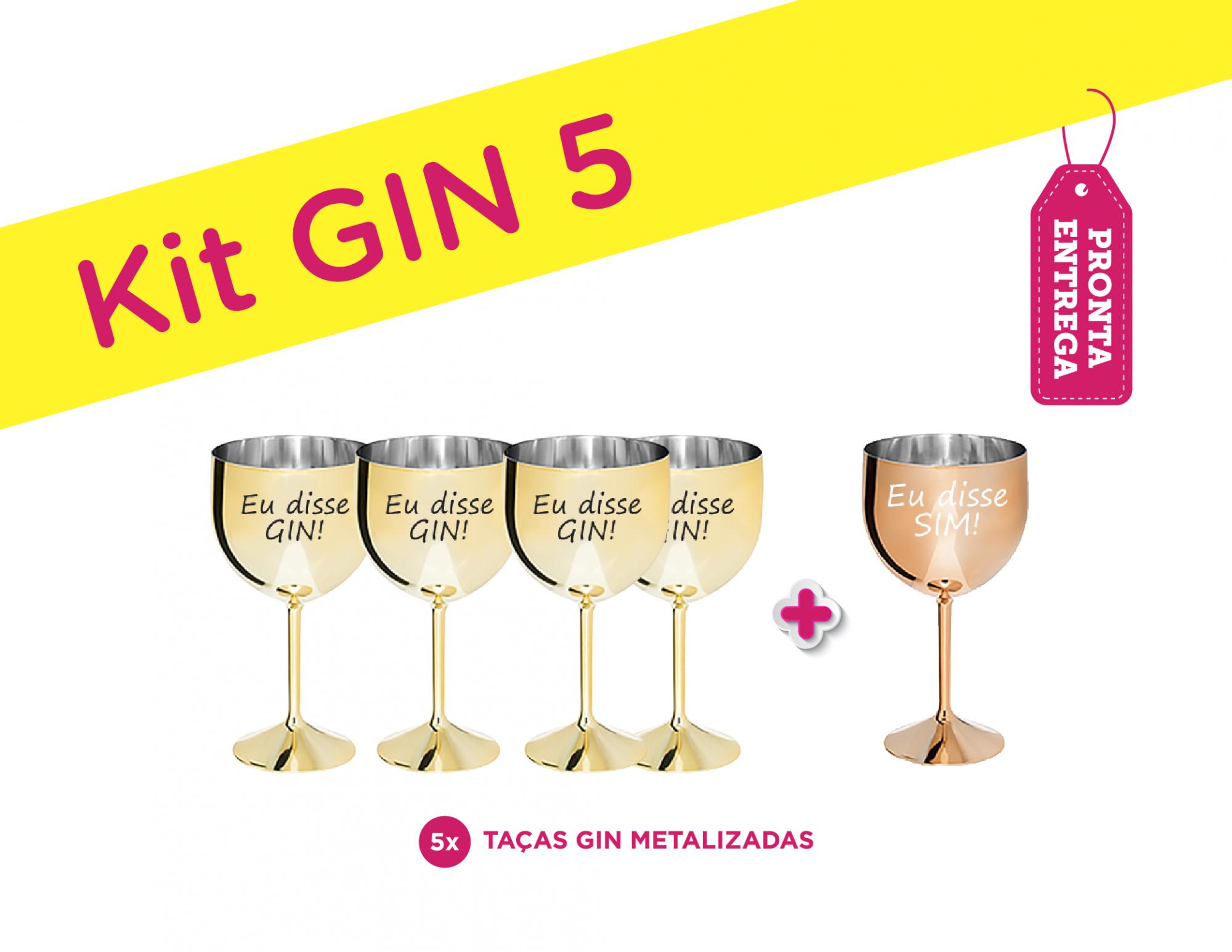 Kit Gin 5 Metalizado Eu Disse Gin/Eu Disse Sim Pronta Entrega para Despedida de Solteira