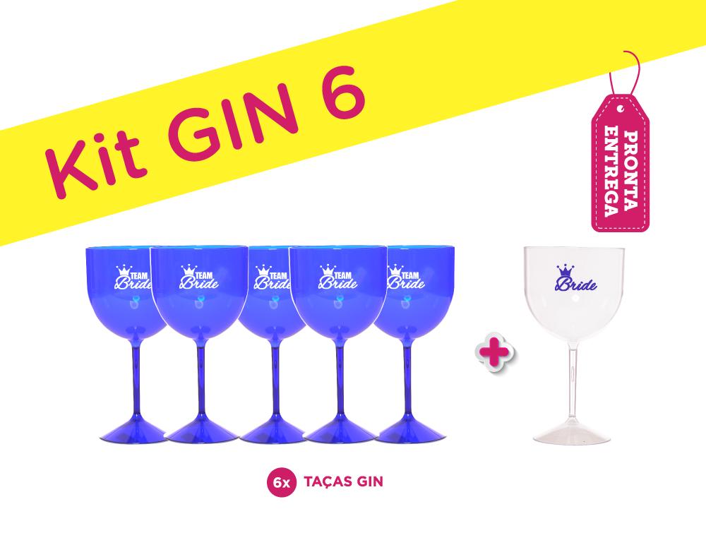 Kit Gin 6 Azul Pronta Entrega para Despedida de Solteira