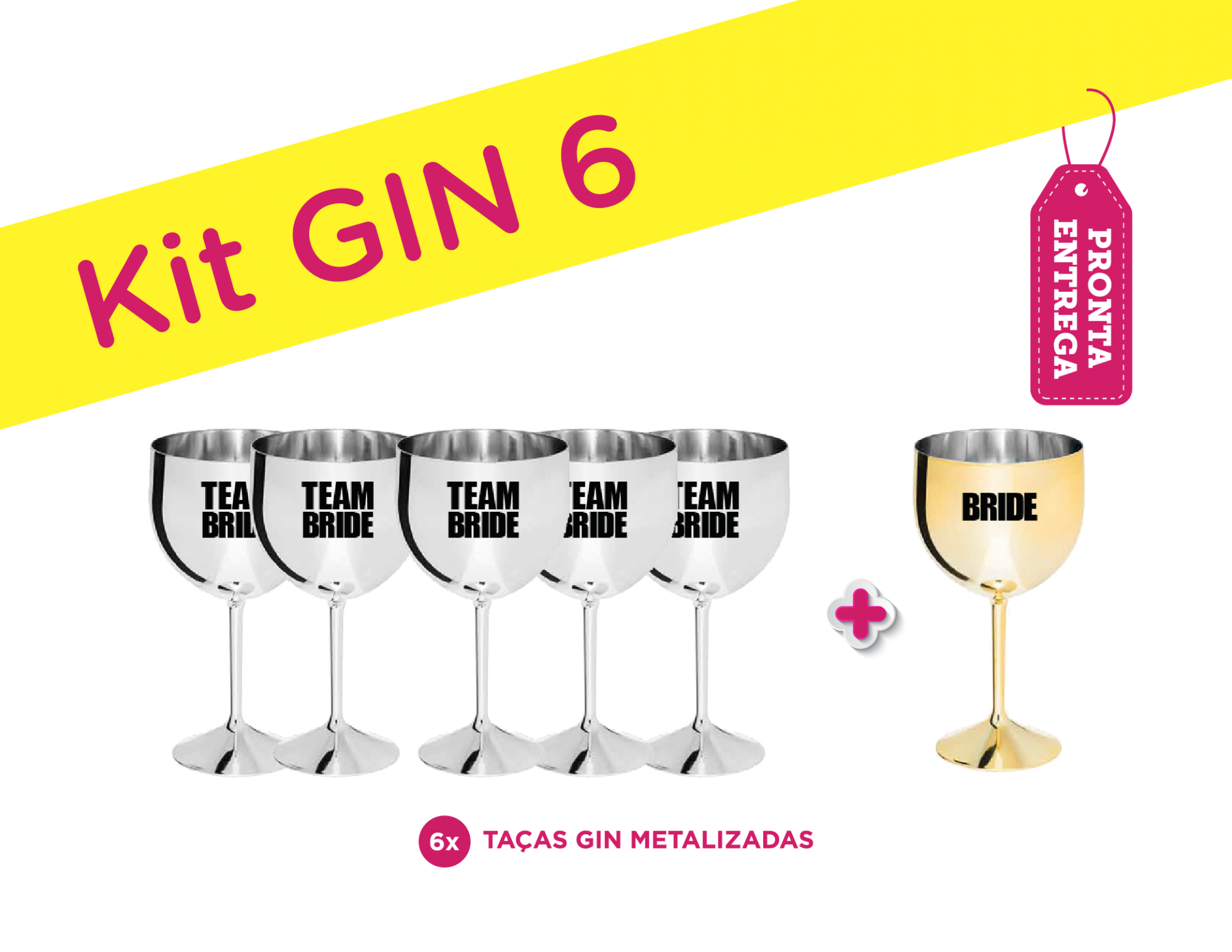 Kit Gin 6 Metalizado Bride/Team Bride Pronta Entrega para Despedida de Solteira