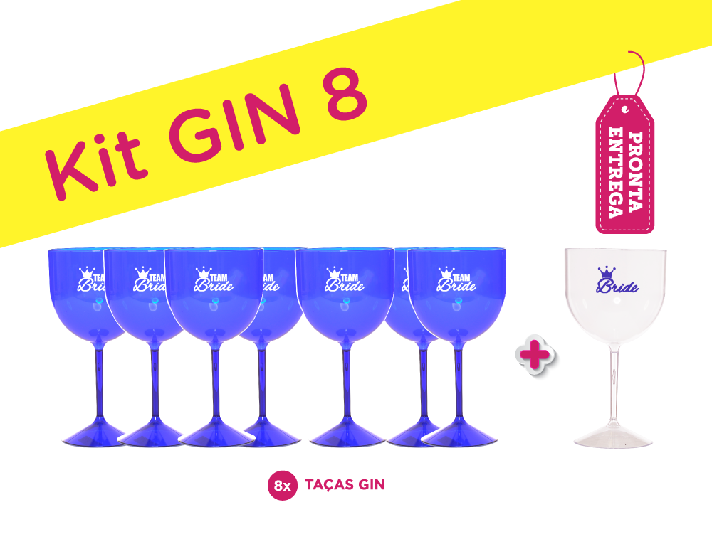 Kit Gin 8 Azul Pronta Entrega para Despedida de Solteira