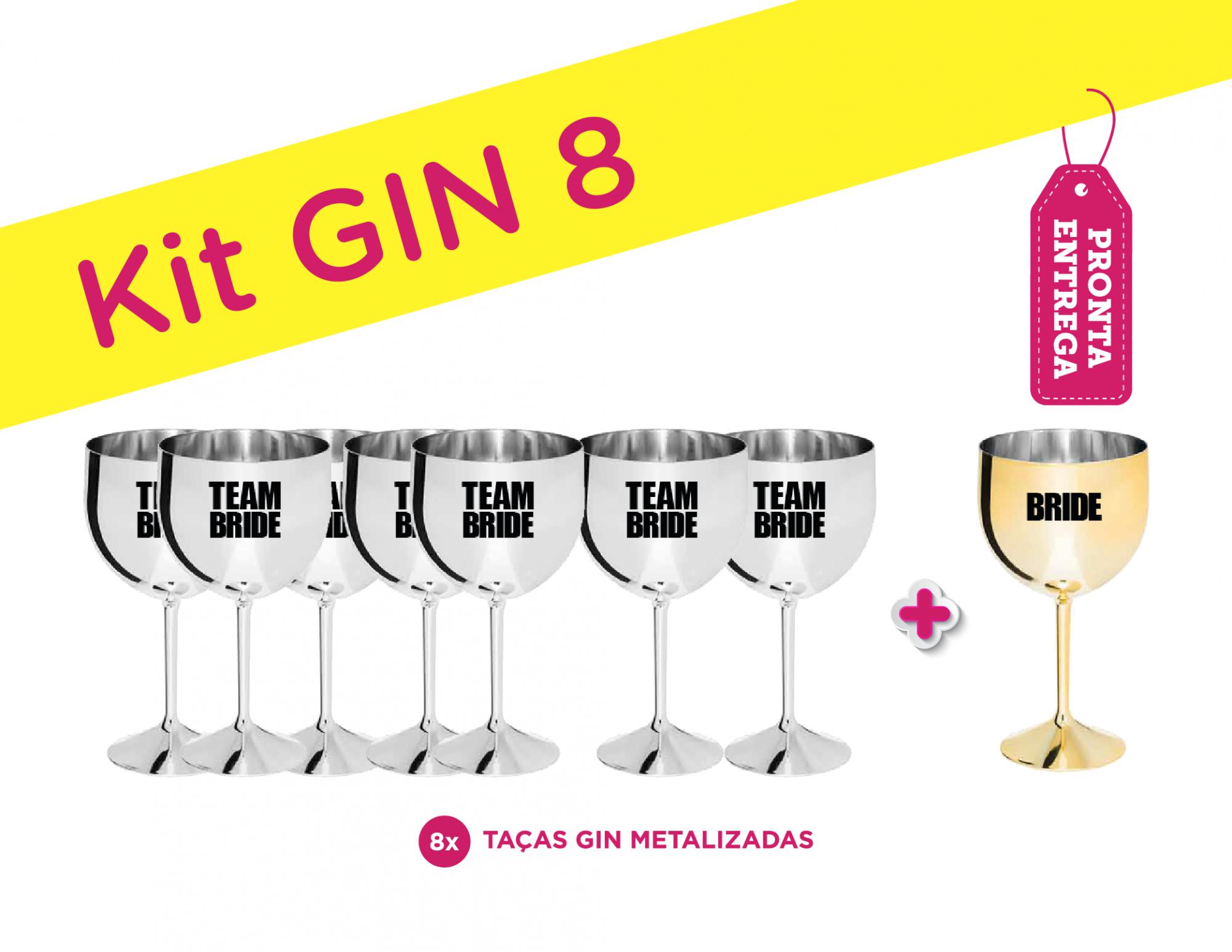 Kit Gin 8 Metalizado Bride/Team Bride Pronta Entrega para Despedida de Solteira