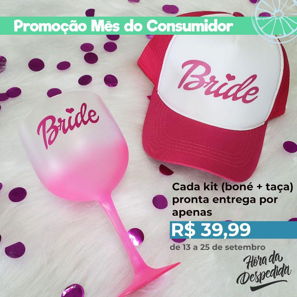 Kit Mês do Consumidor Boné Rosa + Taça de Gin Rosa Pronta Entrega para Despedida de Solteira