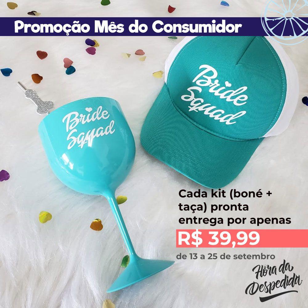 Kit Mês do Consumidor Boné Tiffany + Taça de Gin Tiffany Pronta Entrega para Despedida de Solteira