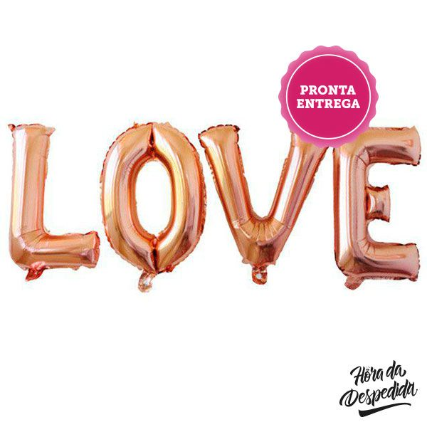 PALAVRA LOVE METALIZADA JUMBO ROSE GOLD, LOVE METALIZADO ROSE GOLD, LOVE ROSE GOLD, PALAVRA LOVE METALIZADA, BALÃO LOVE METALIZADO