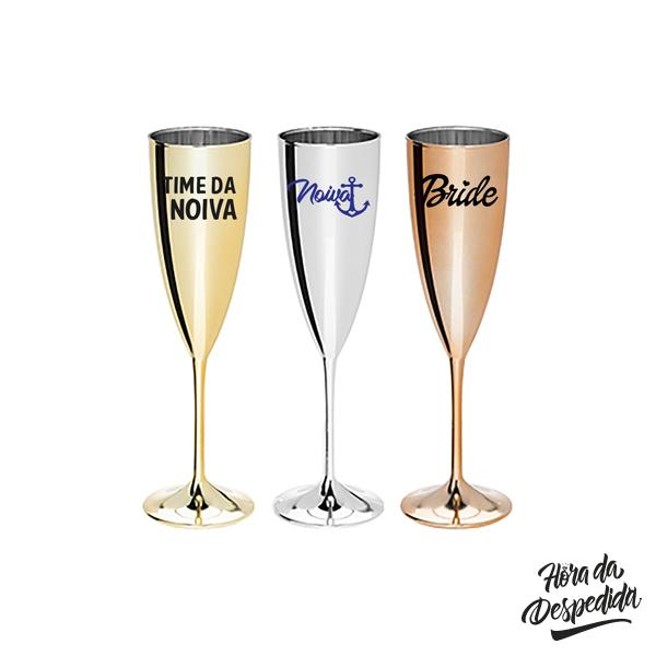Taça de Champagne 200ml Metalizada para Despedida de Solteira