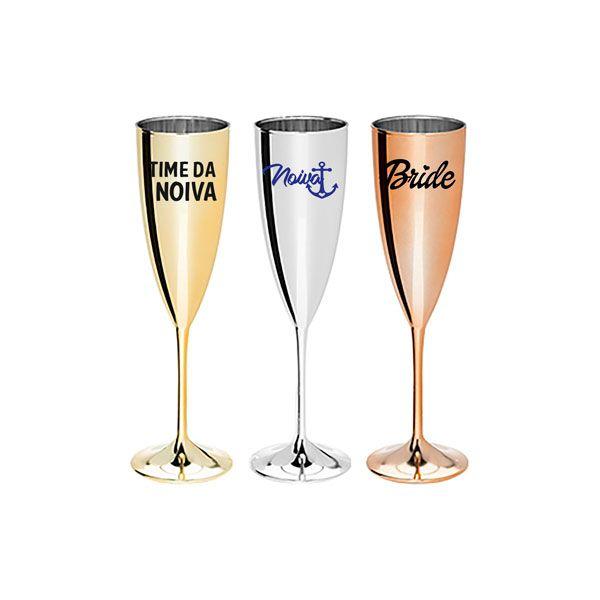 Taça de Champagne 200ml Metalizada Personalizada para Despedida de Solteira