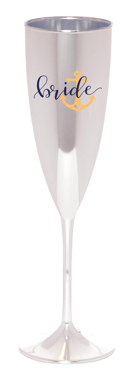 Taça de Champagne Cromada Personalizada, Taça de Champagne para Despedida de Solteira, Taça Champagne