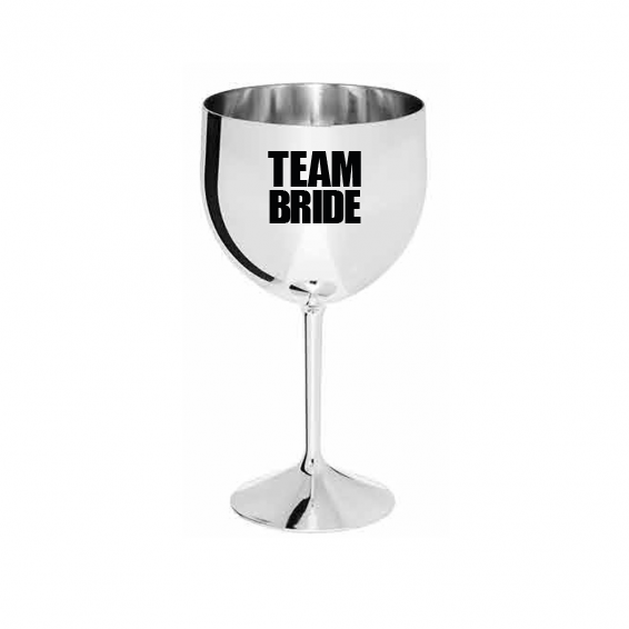 Taça de Gin 550ml Team Bride Prateada Metalizada Pronta Entrega para Despedida de Solteira