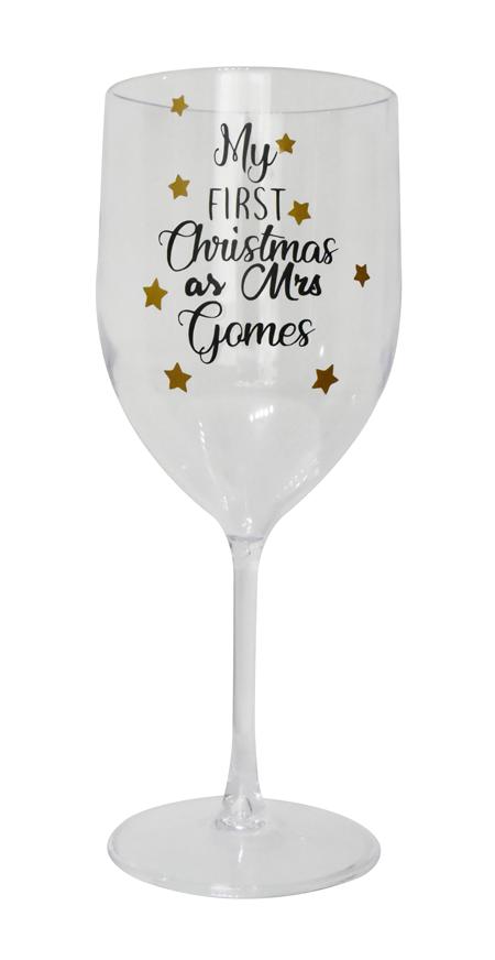 Taça de Natal Vinho 400ml Personalizada para Despedida de Solteira