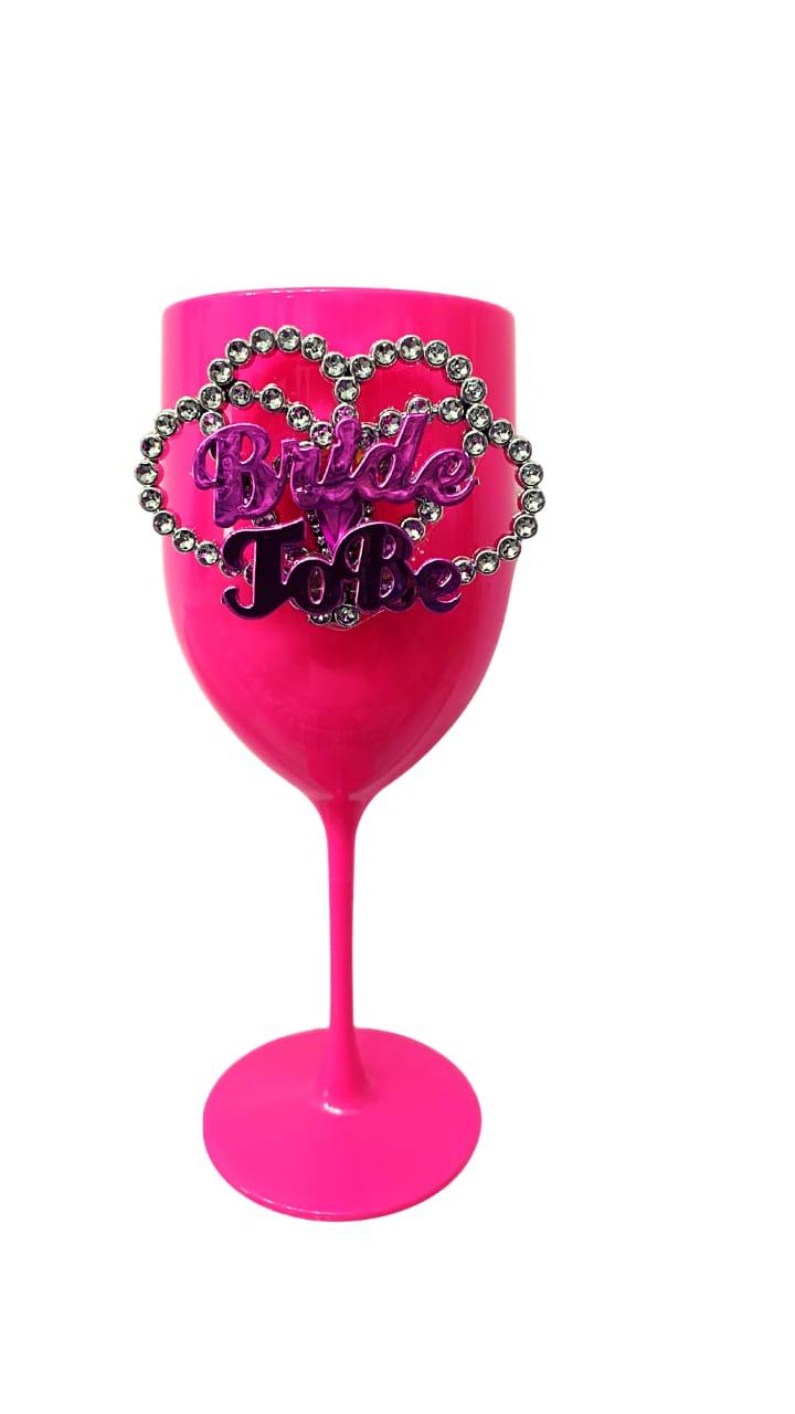 Taça de Vinho 400ml Glamour Rosa