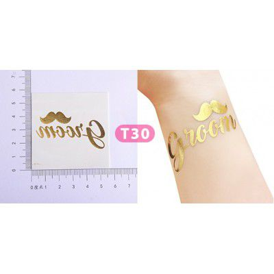 Tatuagem Dourada Groom Pronta Entrega para Despedida de Solteira